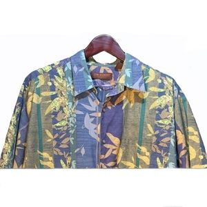 Tori Richard Blue Green Hawaiian Shirt Size XL